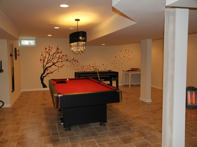 Finished basement with game room the basic basement co for 9999 basement