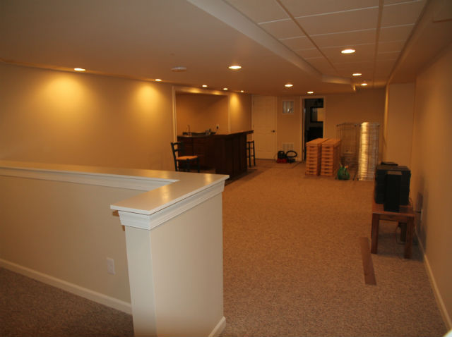 Finished basement with bar the basic basement co for 9999 basement