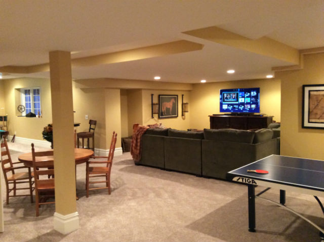 Finished basement with home gym and music room the basic