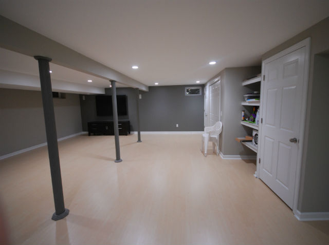 Finished basement with home theater the basic basement co for 9999 basement