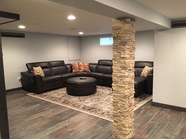 Finished Basement With Egress Window Bar Fireplace And