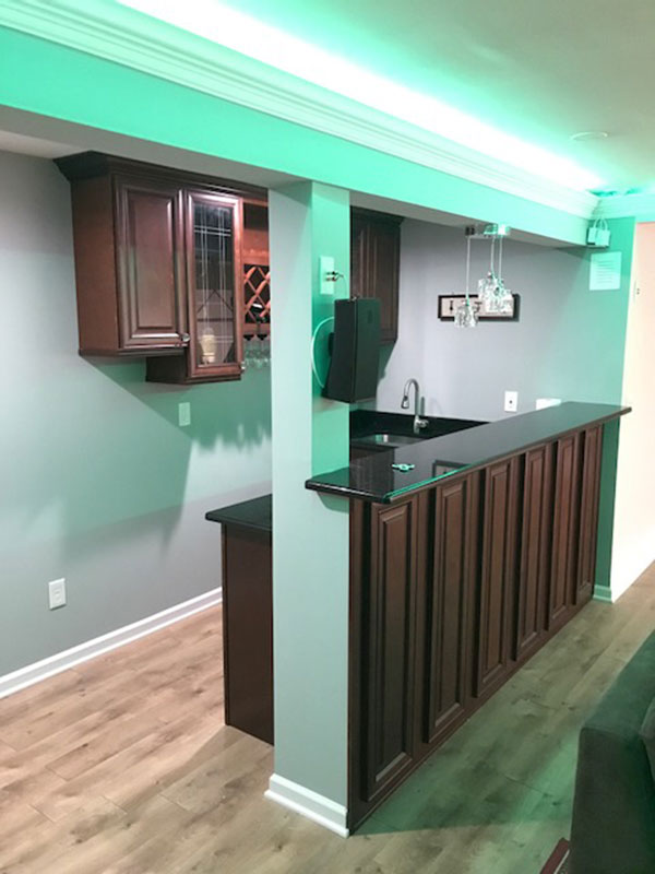 Finished Basement With Bar Bathroom And Home Theater