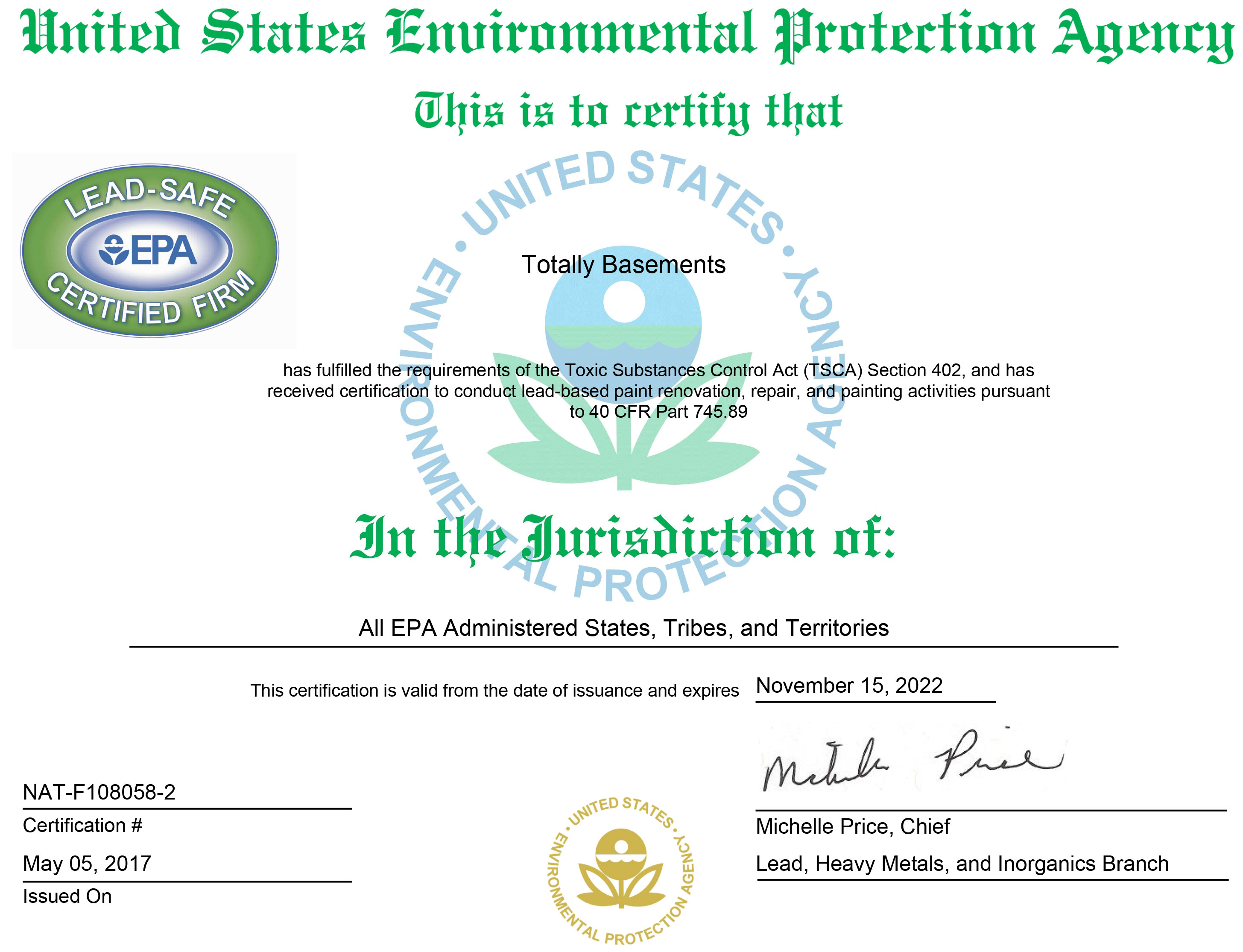The Basic Companies Lead Remediation Certificate The Basic